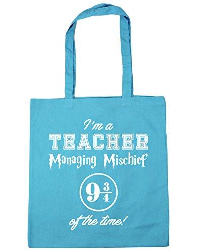 HippoWarehouse I'm A Teacher Managing Mischief 9 And 3 Quarters Of The Time! Tote Shopping Gym Beach Bag 42cm x38cm, 10 litres Surf Blue