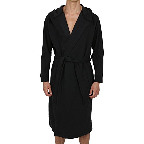 Regency New York Men's Cotton Sweatshirt Style Hooded Robe Black (Large/X-Large) by Regency New York