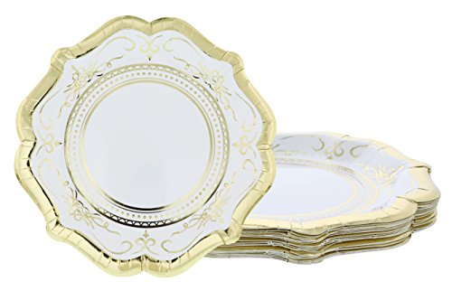 Disposable Plates - 24-Count Paper Plates, Vintage White Party Supplies for Appetizer, Lunch, Dinner, and Dessert, Bridal Showers, Weddings, Gold Foil Scalloped Edge Design, 9.2 x 9.2 inches