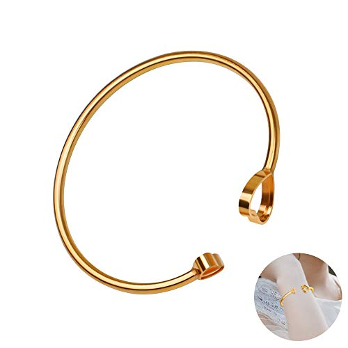 (HELNAL Adjustable Heart Cuff Bangle Bracelet Gold Plated for Women, Simple Double Love Heart Expandable StackableOpen Bracelet Gift for Women Girl, Fit Most Wrist )