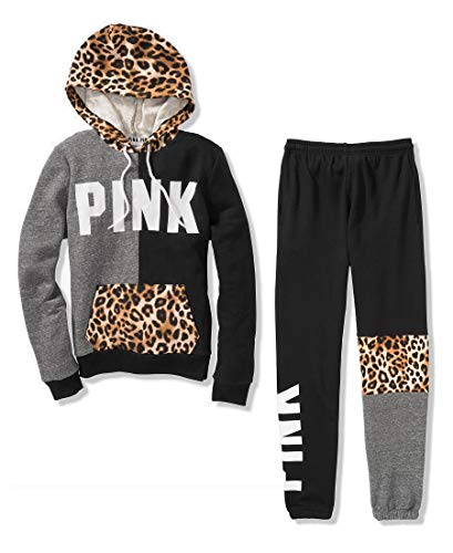Victoria's Secret Pink Colorblock Perfect Pullover Hoodie & Campus Pant Sweat Set, Black/Leopard/Gray, Small