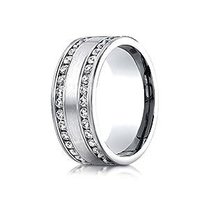 Palladium 8mm Comfort-Fit Double Row Channel Set 66-Stone Diamond Eternity Ring (1.32ct) - Size 4