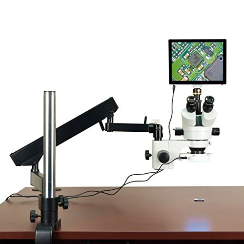 OMAX 3.5X-90X 5MP Touchpad Screen Trinocular Stereo Microscope on Articulating Arm with 64 LED Light