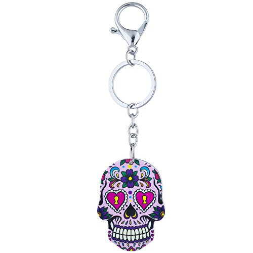 Lux Accessories Silver Tone Purple Sugar Skull Day of The Dead Keychain Key Ring ()