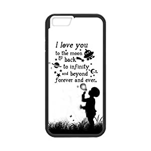 """iPhone 6 Plus Case, Custom iPhone 6 Plus Cover, Love Quote I Love You to the Moon and Back iPhone 6 Plus Case, iPhone 6 Plus(5.5"""") Durable Plastic Material"""