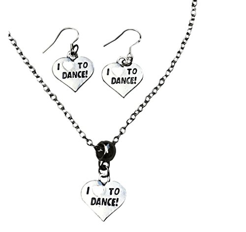 Infinity Collection Dance Necklace & Earrings, Girls I Love Dance Jewelry, Perfect Gift For Dancers, Dance Recitals, Dance Teams & Dance (Spirit Dancer Earrings)