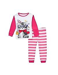 Girls Pajamas Fashion Long Sleeves Toddler Lady Cat Kids Pjs Sleepwear 2 Piece