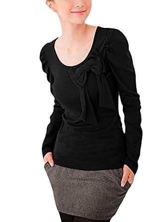Allegra K Women's Long Puff Sleeves Bowknot Decor Scoop Neck T-Shirt XS Black
