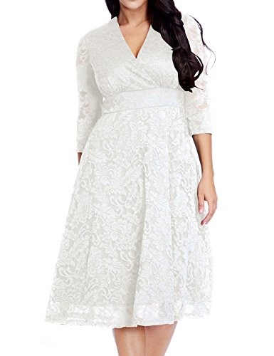 Women's Lace Plus Size Mother of the Bride Skater Dress Bridal Wedding Party White (Special Event Catalog)