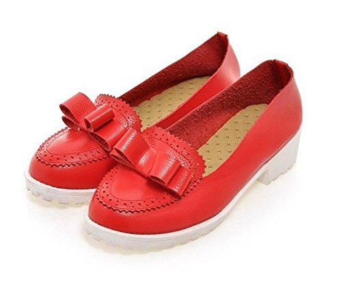 XIE Redonda Dedo del pie Grueso con Zapatos de Tacón de Tacón de Zapatos Ocasionales de Baja Ayuda Zapatos Arco con Zapatos Dulces, White, 39 RED-39
