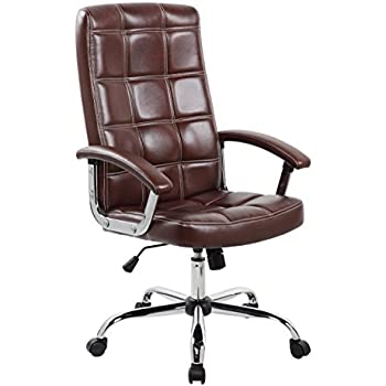 Anji Executive Big And Tall Thick Padded High Back Brown Leather Office  Desk Chair With Adjustable