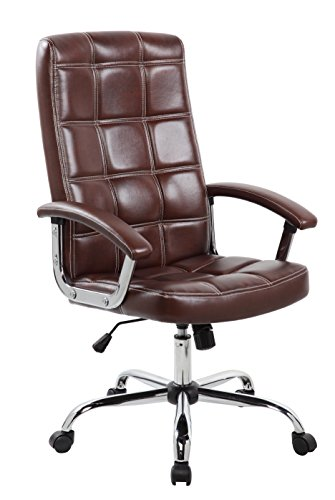 Anji Executive Big and Tall Thick Padded High Back Brown Leather Office Desk Chair with Adjustable Seat by Anji Modern Furniture
