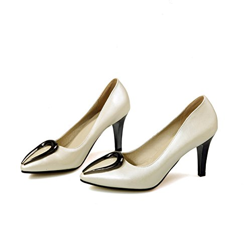 Balamasa Kvinnor Urringade Överdelar Metall Prydnad Blandningsmaterial Pumpar-shoes Beige
