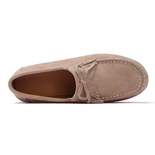 Enllerviid Mujeres Slip On Gamuza Mocasines Wide Outdoor Platform Heel Loafer Zapatos 2017 Caqui