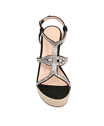 Women Wedge High Heel Platform Bling T-Bar Espadrilles Sandals Summer Shoes 3-8 Black sU6ZyQs