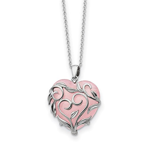 925 Sterling Silver Rose Quartz Generous Heart 18 Inch Chain Necklace Pendant Charm S/love Natural Stone Inspirational Fine Jewelry For Women Gift Set