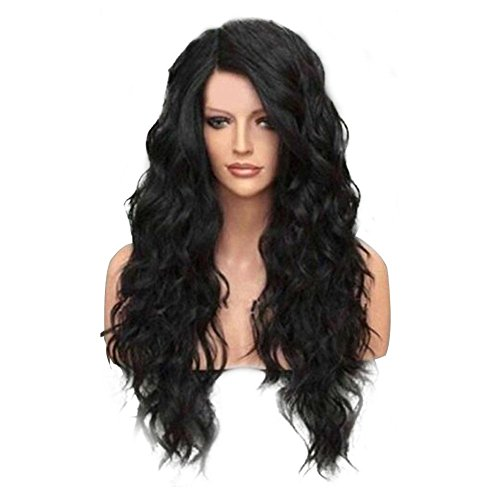 Women's Fashion Long Middle Part Shaggy Big Wavy Synthetic Wig Human Hair Wig Full Wig by BleuMoo