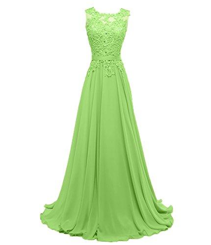 Promkleider linie Damen Festlichkleider Chiffon Spitze Abendkleider Grün Partykleider Charmant Brautjungfernkleider A Hx8qSXww
