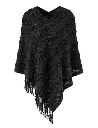 (Ferand Women's Asymmetrical Chevron Stripe Poncho Sweater with Fringed Hem, One Size, Black)
