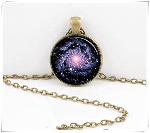 - Spiral Galaxy Pendant,Necklace,Dome glass jewelry, pure handmade