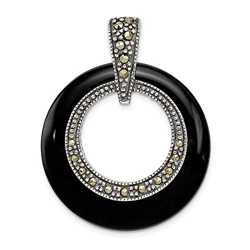 (Jewelry Pendants & Charms Slides Sterling Silver Onyx and Marcasite Circle Slide)