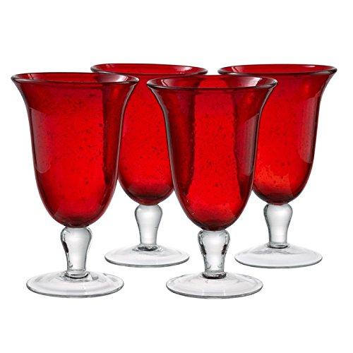 artland iris footed ice tea glasses ruby set of 4