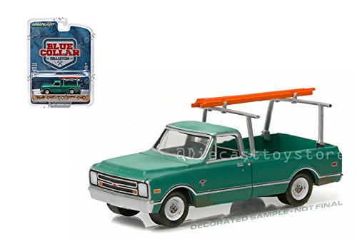 C10 Pickup Body - NEW 1:64 GREENLIGHT BLUE COLLAR COLLECTION 1 COLLECTION - GREEN 1968 CHEVROLET C-10 WITH LADDER RACK Diecast Model Car By Greenlight