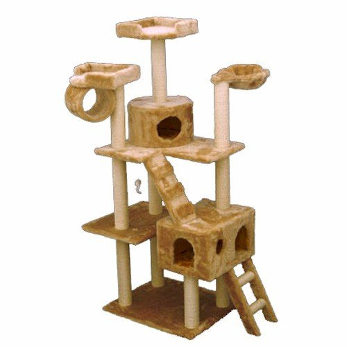 Majestic pet products 73 inch beige casita cat furniture for Cat tree steps