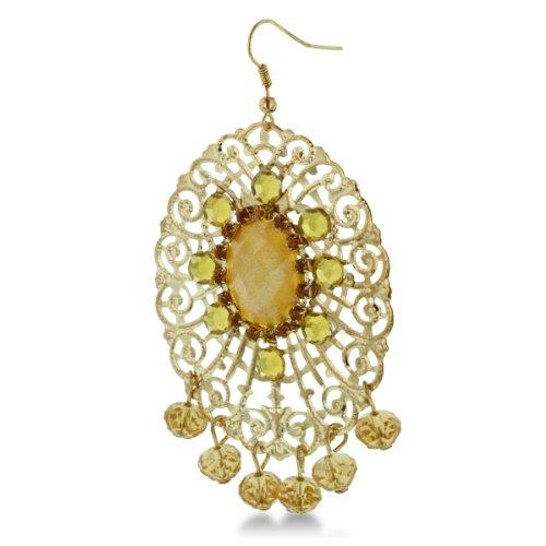 Gold Tone 3 Inch Shimmering Yellow Crystal Dangle Drop Earrings