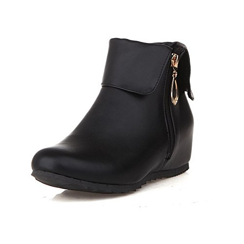 Allhqfashion Women's Kitten-Heels Soft Material Low-top Solid Zipper Boots Black