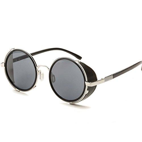 Dollger Steampunk Vintage Retro Round Sunglasses Metal Circle Frame (Black Lens+Silver Frame,100% UV Protection ()