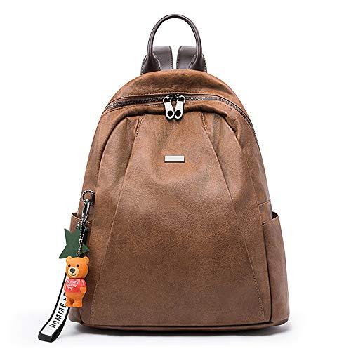 Sac à dos pour femme Gyh - Cuir souple pour femme, multifonctions de grande capacité, sac à bandoulière léger et brun