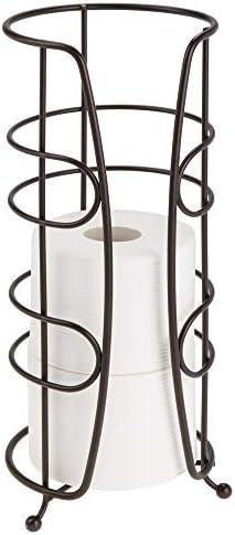 mDesign Porta rollos de repuesto para colocar sobre la cisterna Portarrollos para ba/ño de metal sin taladro Soporte para papel higi/énico redondo para 3 rollos color bronce