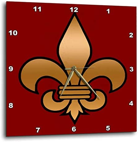 3dRose DPP_30760_3 Large Black Gold Fleur De Lis on Maroon Background Christian Symbol Wall Clock, 15 by 15