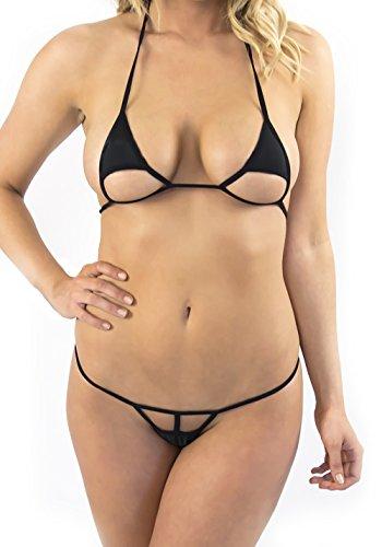 d3b3c331f60 Women's Black Extreme Sexy Micro Bikini Swimsuit Thong Bikinis (X-large)