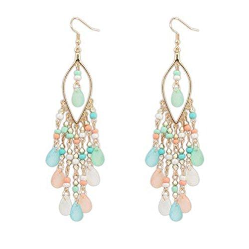 Amiley Fashion Women Long Boho Beaded Teadrop Tassels Ear Stud Hook Dangle Earrings Jewelry (Costumes For Cheap)