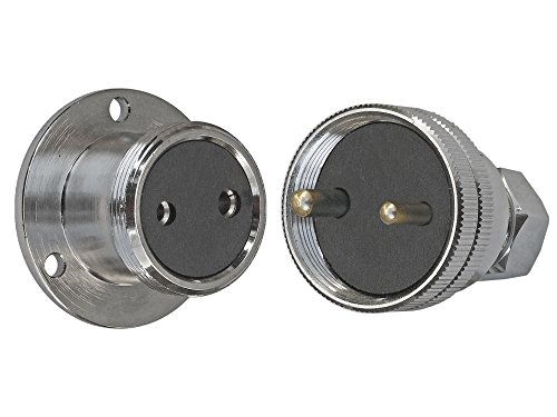 2-Pins-5-Amps-Waterproof-Chromed-Brass-Deck-Connector-Boat-Rv-Five-Oceans