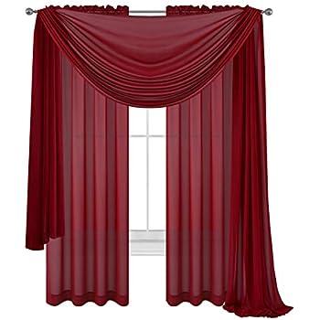 Amazoncom 3 Piece Burgundy Sheer Voile Curtain Panel Set