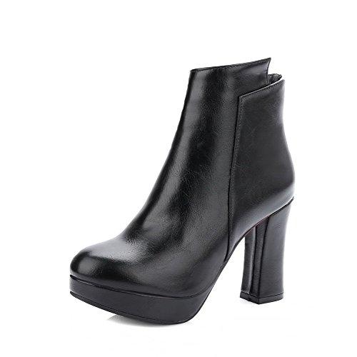 VogueZone009 Damen Weiches Material Rein Niedrig-Spitze Hoher Absatz Stiefel mit Schleife, Weiß, 33