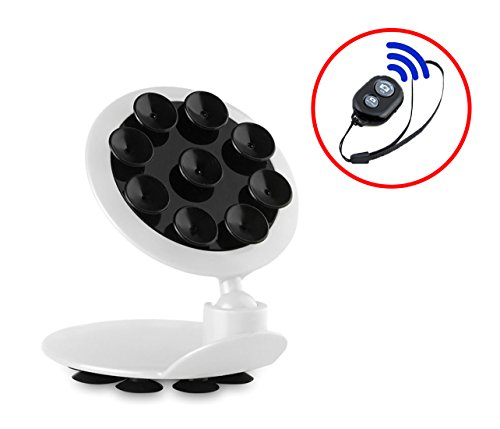 Universal Smartphone Multifunction Double-Sided Suction Cup Mount with Bluetooth Remote Shutter for Hands-Free Pics, Videos, Car, Desktop Stand Holder for iPhone, Samsung Galaxy, etc. (Black)
