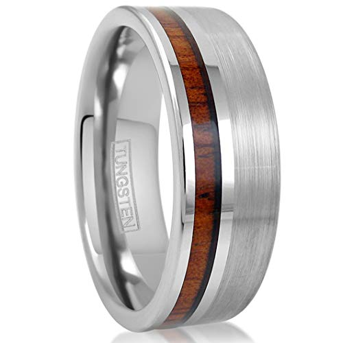 King's Cross Classy 8mm Flat Band Brushed Finish Silver Tungsten Ring with Off-Center Koa Wood Inlay (tungsten (8mm), 12)