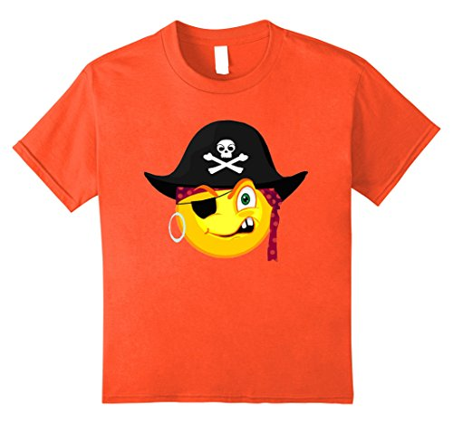 Kids Funny Halloween Pirate Emoji For Cute Costume Horror Night 12 Orange (Homemade Boys Pirate Costumes)