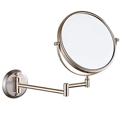 DOWRY 8-Inch Double-Sided Wall Mounted Makeup Mirror with 7x Magnification, Satin Nickel Finish 1306N 8in,7x