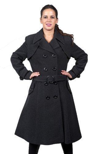La Creme - Donna Lana E Cashmere Con Cintura Lungo Cappotto Invernale  Taglie Comode 8- 07d1ed82705f