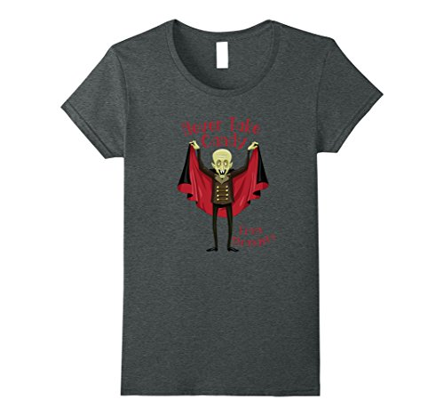 Womens Vampire Cautions Never Take Candy From Strangers T-Shirt Medium Dark (Halloween Candy From Strangers)