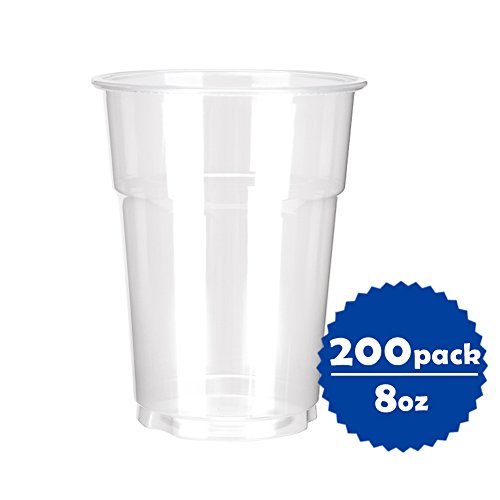 OTOR 8oz Clear Plastic Cups, Disposable PP (Polypropylene) Cups/Tumblers - 200 Count