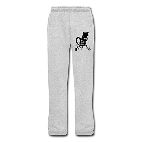 Aip-Yep Men's Awesome Crazy Cat Lady Running Pants Ash Size XXL