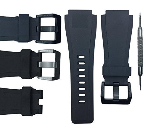 24mm Black Rubber Watch Band Strap - For Bell & Ross B&R BR-01 BR-03 - Free Spring Bar Tool (Black Buckle) (Ross Replica Watches)