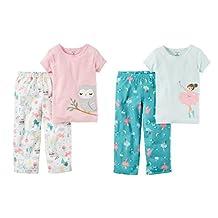 Carter's Little Girl's Toddler 4 Piece Short Sleeve and Pants Pajama Set