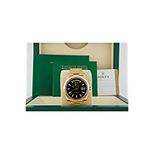 Rolex Day-date 40 Black Diagonal Motif Index Dial 418 Yellow Gold Mens Watch 228238